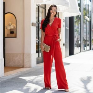 Stunning DVF red jumpsuit